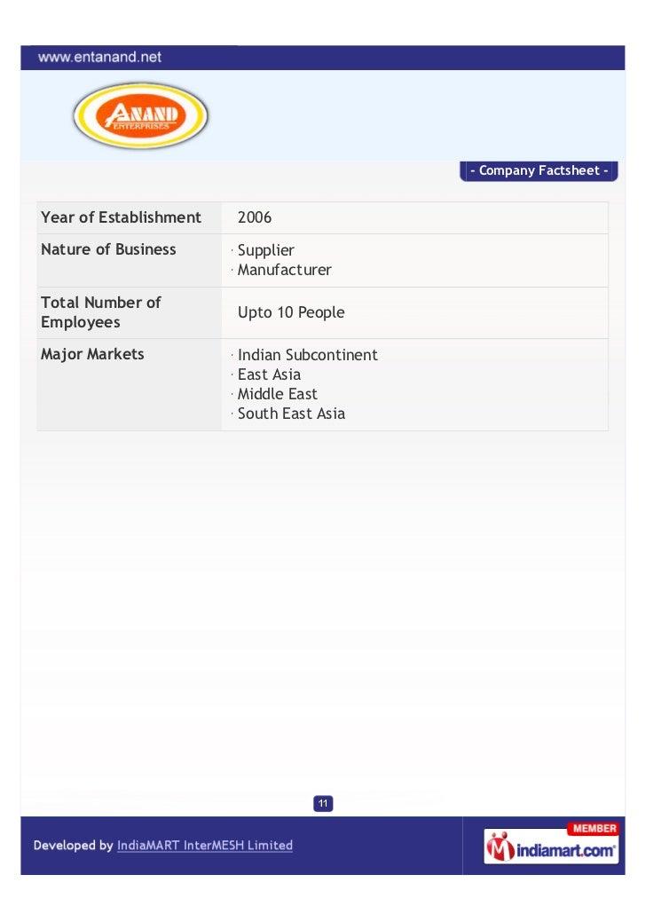 - Company Factsheet -Year of Establishment   2006Nature of Business      Supplier                        ManufacturerTotal...