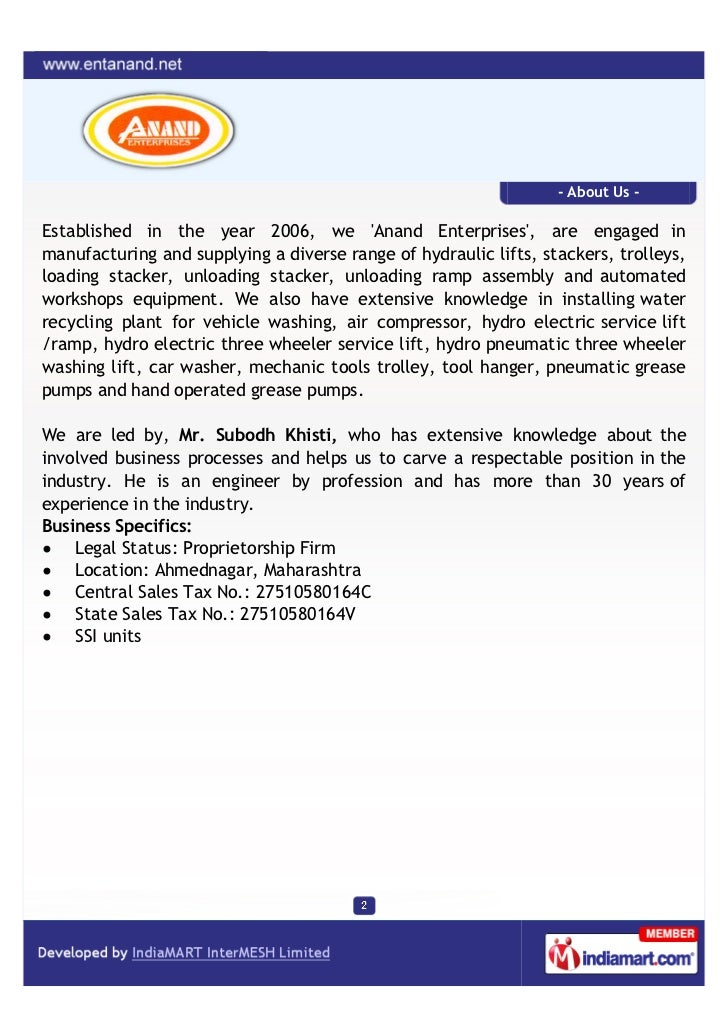 - About Us -Established in the year 2006, we Anand Enterprises, are engaged inmanufacturing and supplying a diverse range ...