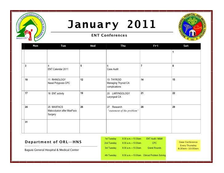January 2011                                                   ENT Conferences      Mon                   Tue             ...