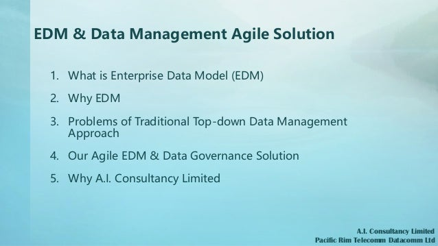 EDM & Data Management Agile Solution 1. What is Enterprise Data Model (EDM) 2. Why EDM 3. Problems of Traditional Top-down...