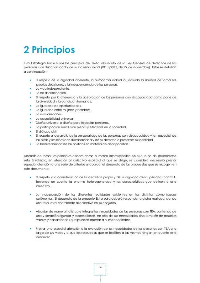 14 2 Principios Esta Estrategia hace suyos los principios del Texto Refundido de la Ley General de derechos de las persona...