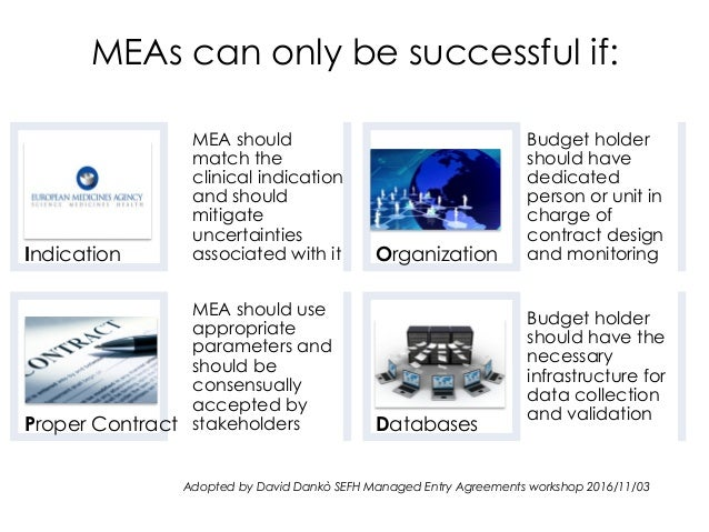Indication MEA should match the clinical indication and should mitigate uncertainties associated with it Proper Contract M...