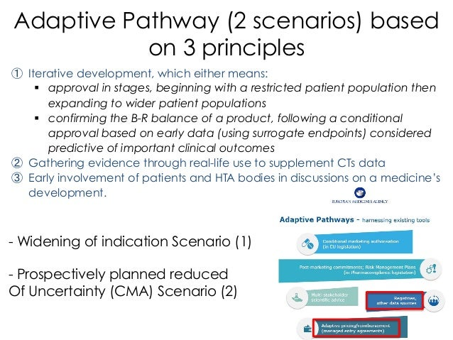 Adaptive Pathway (2 scenarios) based on 3 principles ① Iterative development, which either means: § approval in stages, ...