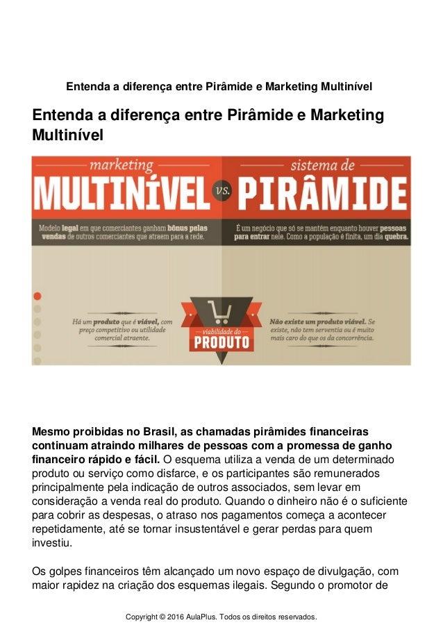 Entenda a diferença entre Pirâmide e Marketing Multinível Entenda a diferença entre Pirâmide e Marketing Multinível Mesmo ...