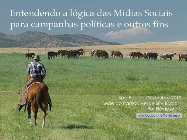 Entendendo a lógica das Mídias Sociais para campanhas políticas e outros fins  São Paulo – Dezembro 2013 Sede do Partido V...