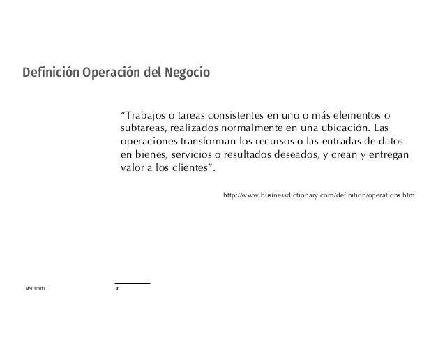 """MSC©2017 20 Definición Operación del Negocio """"Trabajos o tareas consistentes en uno o más elementos o subtareas, realizado..."""