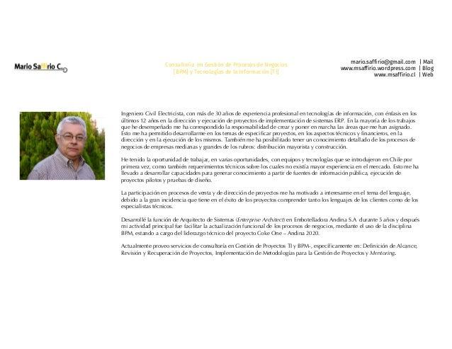 mario.saffirio@gmail.com | Mail www.msaffirio.wordpress.com | Blog www.msaffirio.cl | Web Consultoría en Gestión de Proces...