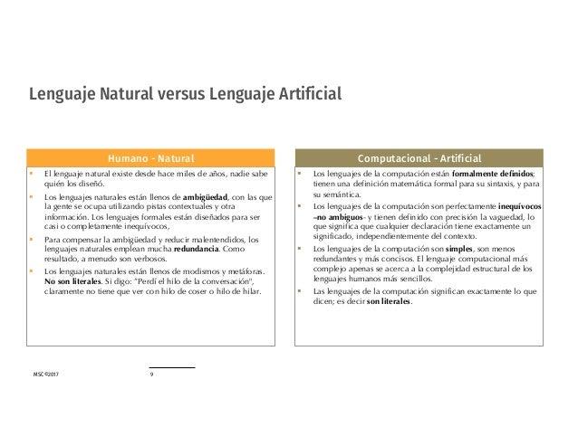 MSC©2017 9 Lenguaje Natural versus Lenguaje Artificial § Los lenguajes de la computación están formalmente definidos; tien...