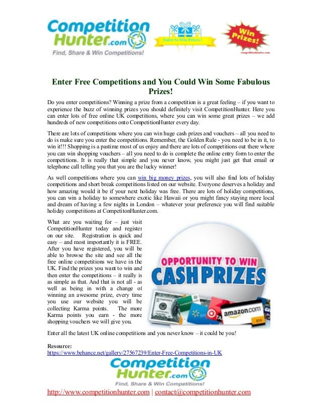 enter free competitions to win cash