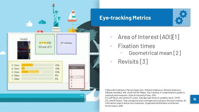 Eye-tracking Metrics ▪ Area of Interest (AOI)[1] ▪ Fixation times ▫ Geometrical mean [2] ▪ Revisits [3] 15 [1]Kenneth Holm...