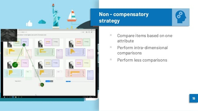 Non - compensatory strategy ▪ Compare items based on one attribute ▪ Perform intra-dimensional comparisons ▪ Perform less ...