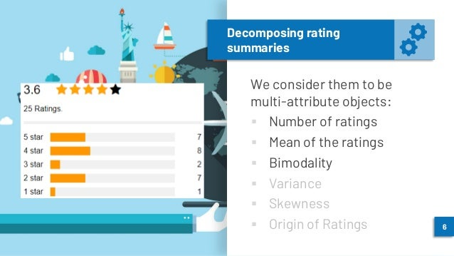 Decomposing rating summaries We consider them to be multi-attribute objects: ▪ Number of ratings ▪ Mean of the ratings ▪ B...