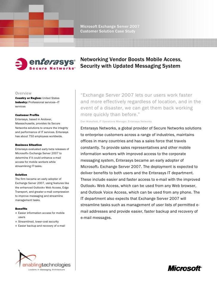 Microsoft Exchange Server 2007                                              Customer Solution Case Study                  ...