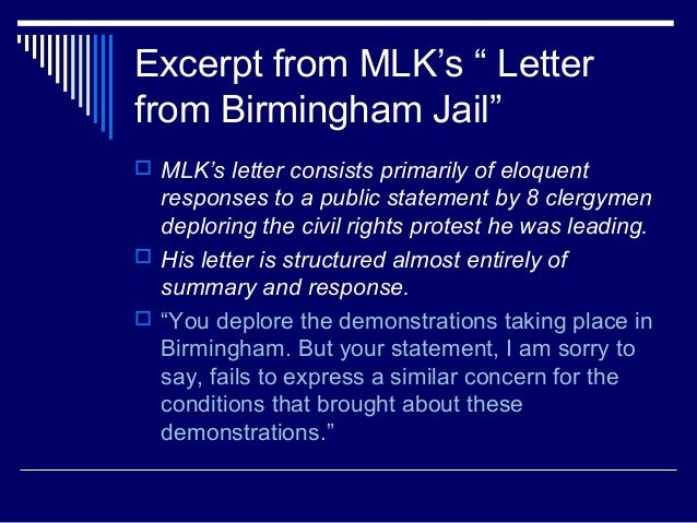 letter from birmingham jail thesis statement Home forums for sale thesis sentence on martin luther king letter from birmingham from birmingham jail download thesis statement on letter from.