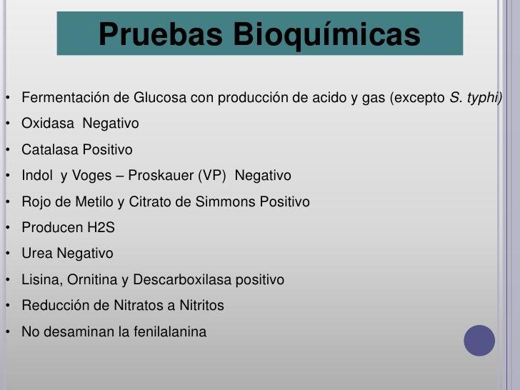 Pruebas Bioquímicas• Fermentación de Glucosa con producción de acido y gas (excepto S. typhi)• Oxidasa Negativo• Catalasa ...