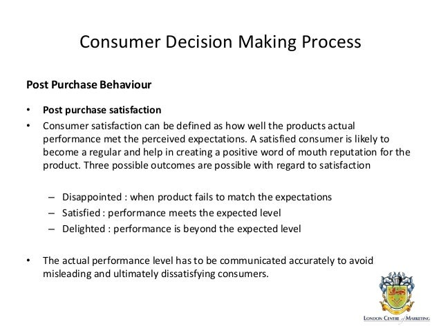 consumer behaviour and decision making process Intention and purchase behaviour, ewom and trust in online shops and trust to   consumer behavior is a broad sphere of research about the decision making.