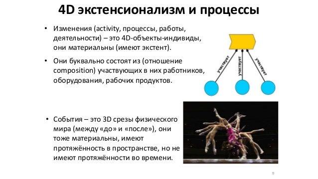 4D экстенсионализм и процессы • Изменения (activity, процессы, работы, деятельности) – это 4D-объекты-индивиды, они матери...