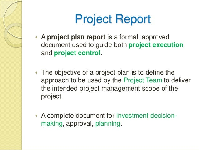 Create a project report