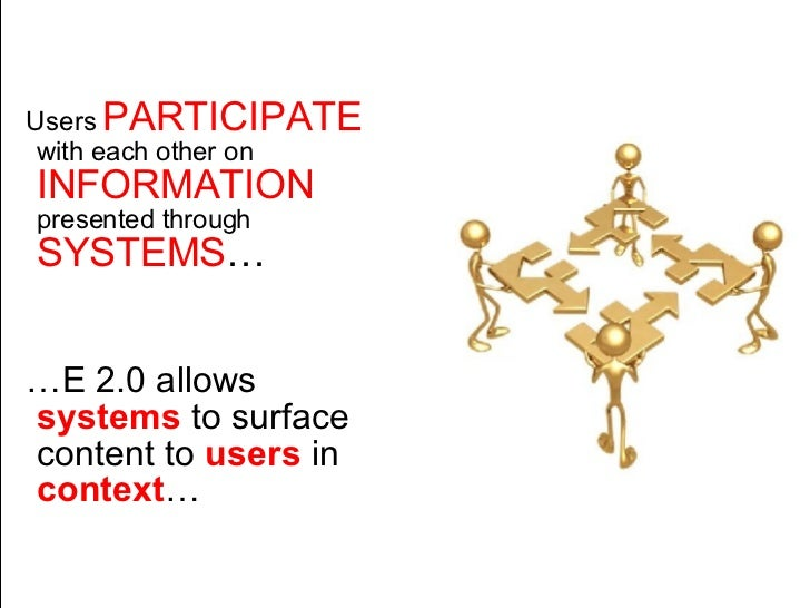 <ul><li>Users  PARTICIPATE  with each other on  INFORMATION  presented through  SYSTEMS … </li></ul><ul><li>… E 2.0 allows...