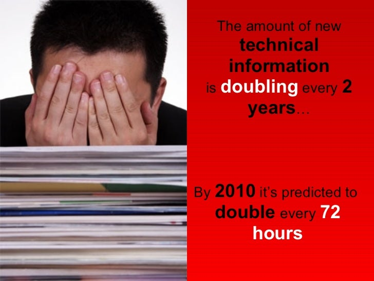 By  2010  it's predicted to  double  every  72 hours The amount of new technical information is  doubling  every  2 years …