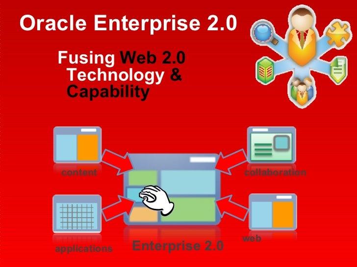 Oracle Enterprise 2.0 <ul><li>Fusing  Web 2.0  Technology  & Capability </li></ul>applications web collaboration content E...