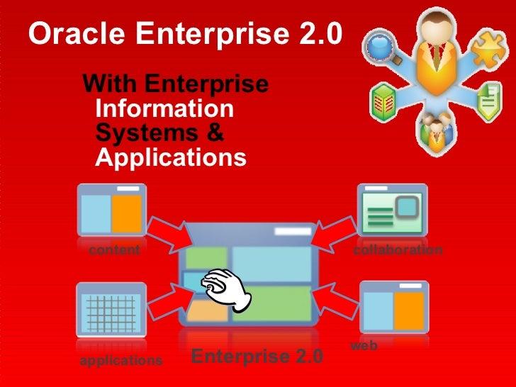 Oracle Enterprise 2.0 <ul><li>With Enterprise  Information  Systems &  Applications   </li></ul>applications web collabora...