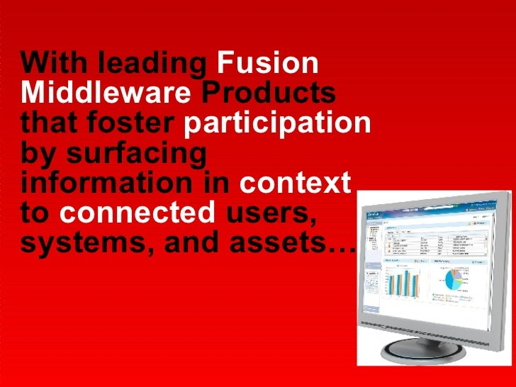 With leading  Fusion Middleware  Products that foster  participation  by surfacing information in  context  to  connected ...