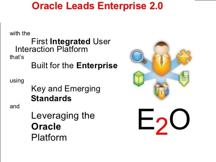 Oracle Leads Enterprise 2.0 <ul><li>with the </li></ul><ul><li>First  Integrated  User  Interaction Platform </li></ul><ul...