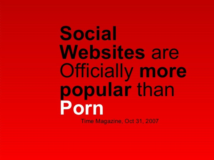 Social Websites  are Officially  more popular  than  Porn Time Magazine, Oct 31, 2007