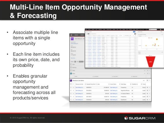 © 2015 SugarCRM Inc. All rights reserved. Multi-Line Item Opportunity Management & Forecasting • Associate multiple line i...