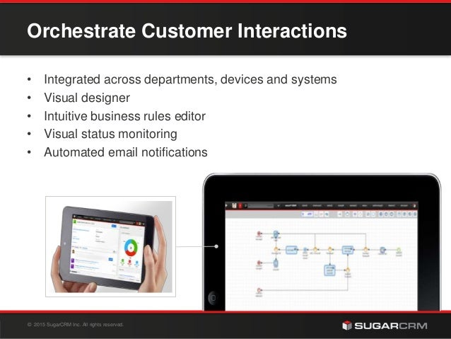 © 2015 SugarCRM Inc. All rights reserved. Orchestrate Customer Interactions • Integrated across departments, devices and s...