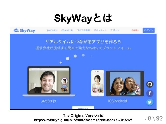 SkyWayとは 16 / 83 The Original Version is https://rotsuya.github.io/slides/enterprise-hacks-201512/