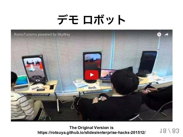 デモロボット 18 / 83 The Original Version is https://rotsuya.github.io/slides/enterprise-hacks-201512/
