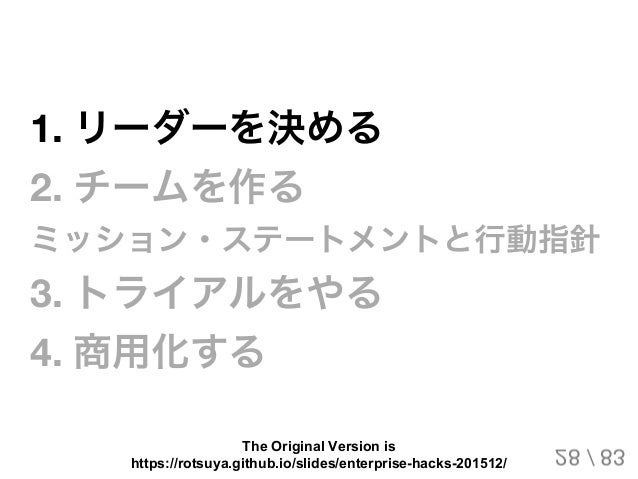 1.リーダーを決める 2.チームを作る ミッション・ステートメントと行動指針 3.トライアルをやる 4.商用化する 28 / 83 The Original Version is https://rotsuya.github.io/sl...