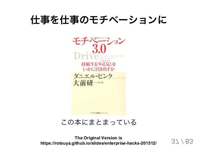 仕事を仕事のモチベーションに この本にまとまっている 37 / 83 The Original Version is https://rotsuya.github.io/slides/enterprise-hacks-201512/