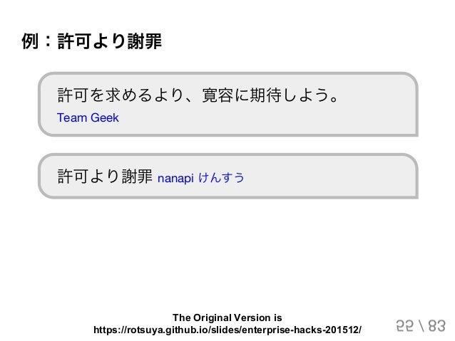 例:許可より謝罪 許可を求めるより、寛容に期待しよう。 Team Geek 許可より謝罪nanapi けんすう 55 / 83 The Original Version is https://rotsuya.github.io/slides/e...