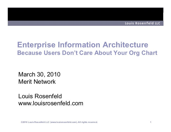 Enterprise Information Architecture Because Users Don't Care About Your Org Chart   March 30, 2010 Merit Network  Louis Ro...