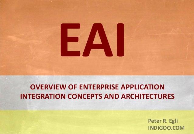 © Peter R. Egli 2015 1/16 Rev. 1.70 Enterprise Application Integration indigoo.com Peter R. Egli INDIGOO.COM OVERVIEW OF E...