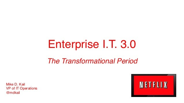 Enterprise I.T. 3.0! The Transformational Period! Mike D. Kail! VP of IT Operations! @mdkail!