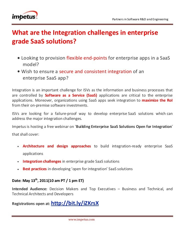 <br />What are the Integration challenges in enterprise grade SaaS solutions?<br /><ul><li> Looking to provis...