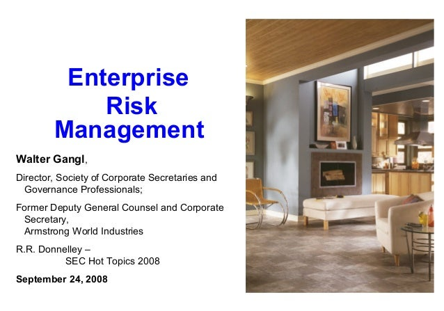 Enterprise Risk Management Walter Gangl, Director, Society of Corporate Secretaries and Governance Professionals; Former D...