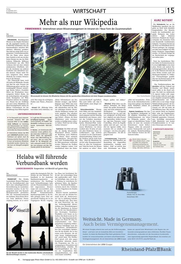 Freitag,9. September 2011Wiesbadener Kurier                                                                               ...