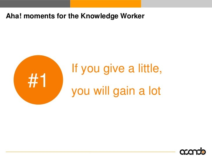 Aha! moments for the Knowledge Worker                      Ambient awareness gets      #2          you on top of things