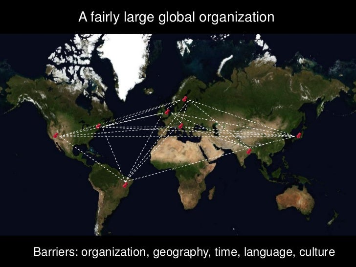 A fairly large global organization     Barriers: organization, geography, time, language, culture