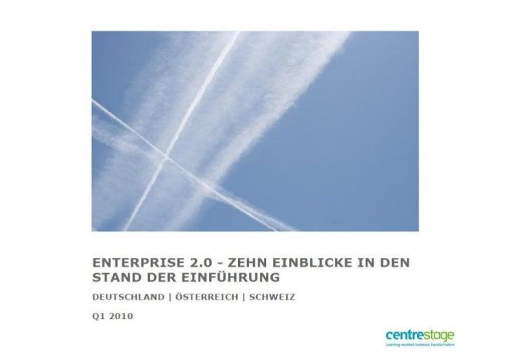 Runde 1 • Reifegrad von Enterprise 2.0 in den Unternehmen • Enterprise 2.0 im strategischen Kontext • Ziele von Enterprise...