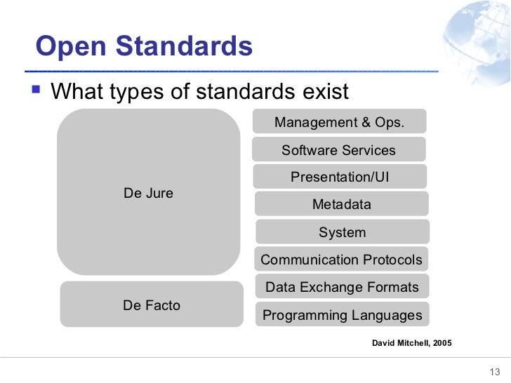 Open Standards <ul><li>What types of standards exist </li></ul>De Facto De Jure Programming Languages Data Exchange Format...