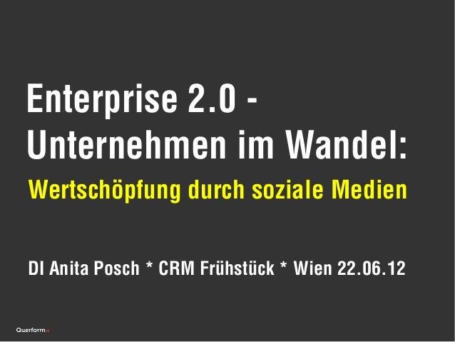 Enterprise 2.0 -Unternehmen im Wandel:Wertschöpfung durch soziale MedienDI Anita Posch * CRM Frühstück * Wien 22.06.12