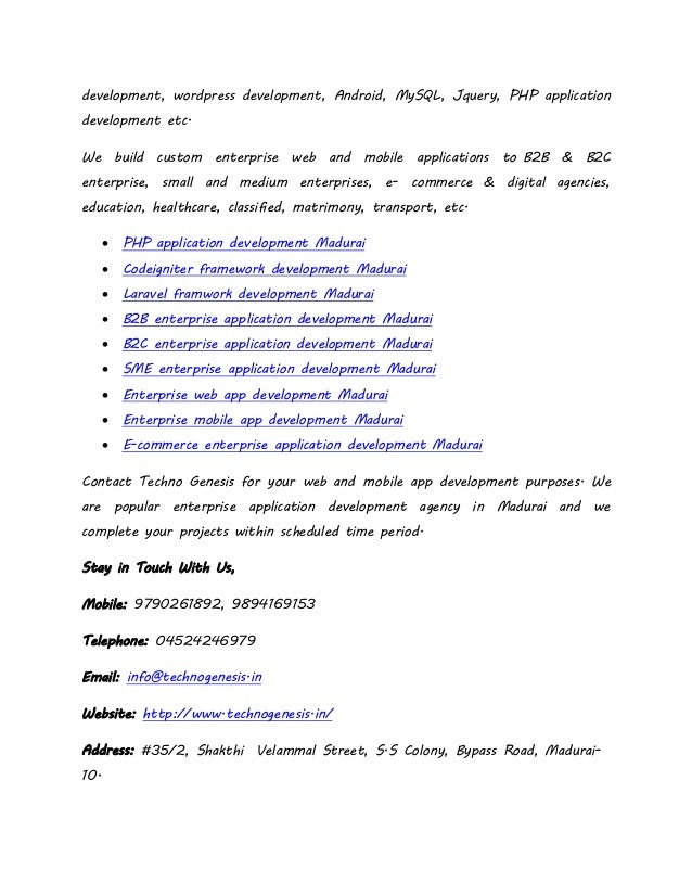 Enterprise application development services in madurai