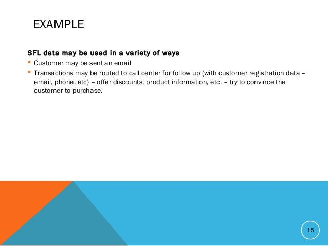 EXAMPLE SFL data may be used in a variety of ways  Customer may be sent an email  Transactions may be routed to call cen...