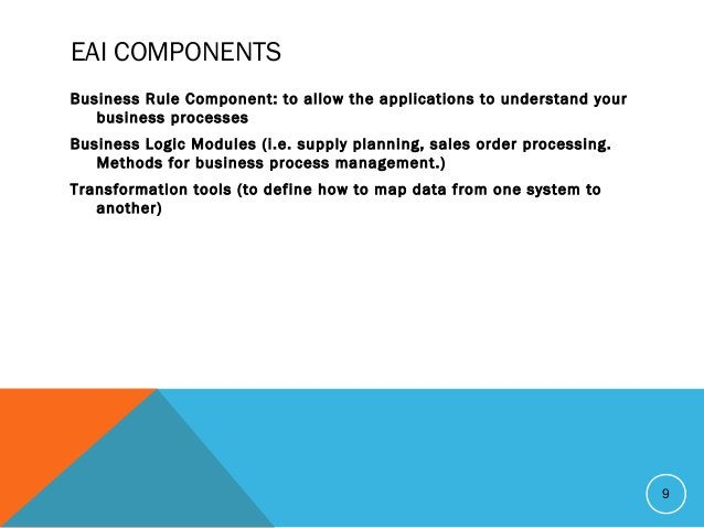EAI COMPONENTS Business Rule Component: to allow the applications to understand your business processes Business Logic Mod...